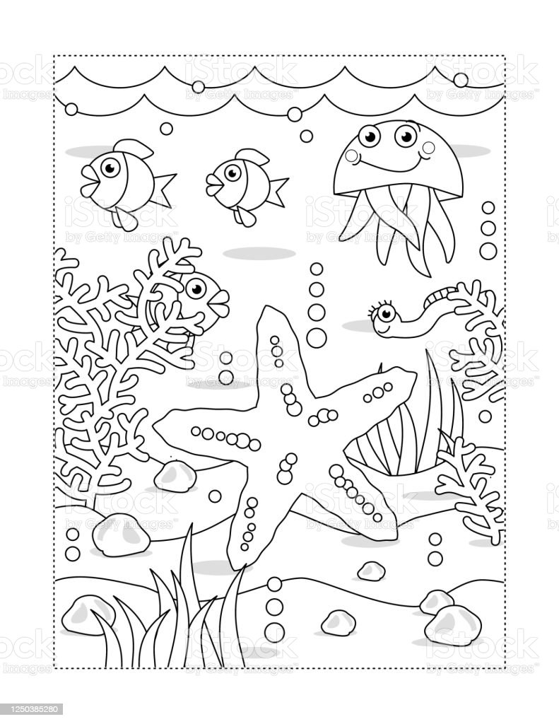 Coloring Page With Underwater Scene And Starfish Stock