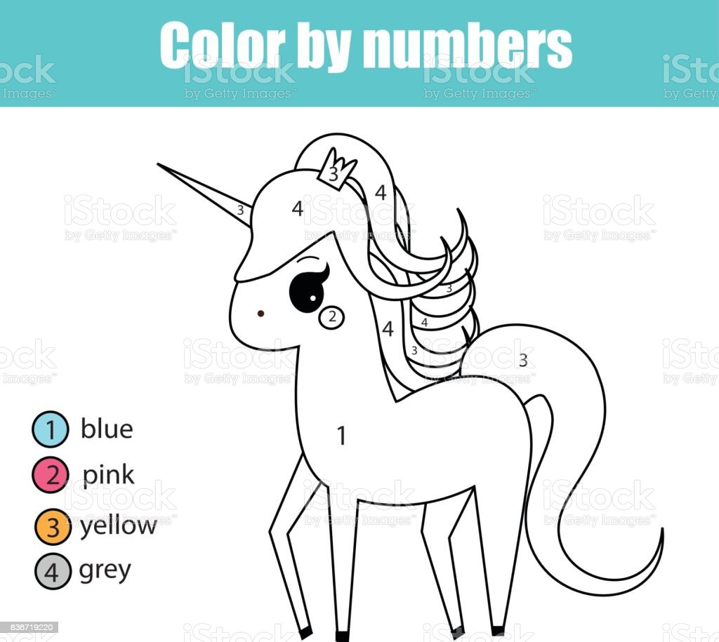 Coloring page with unicorn character. Color by numbers educational children game, drawing kids activity vector art illustration