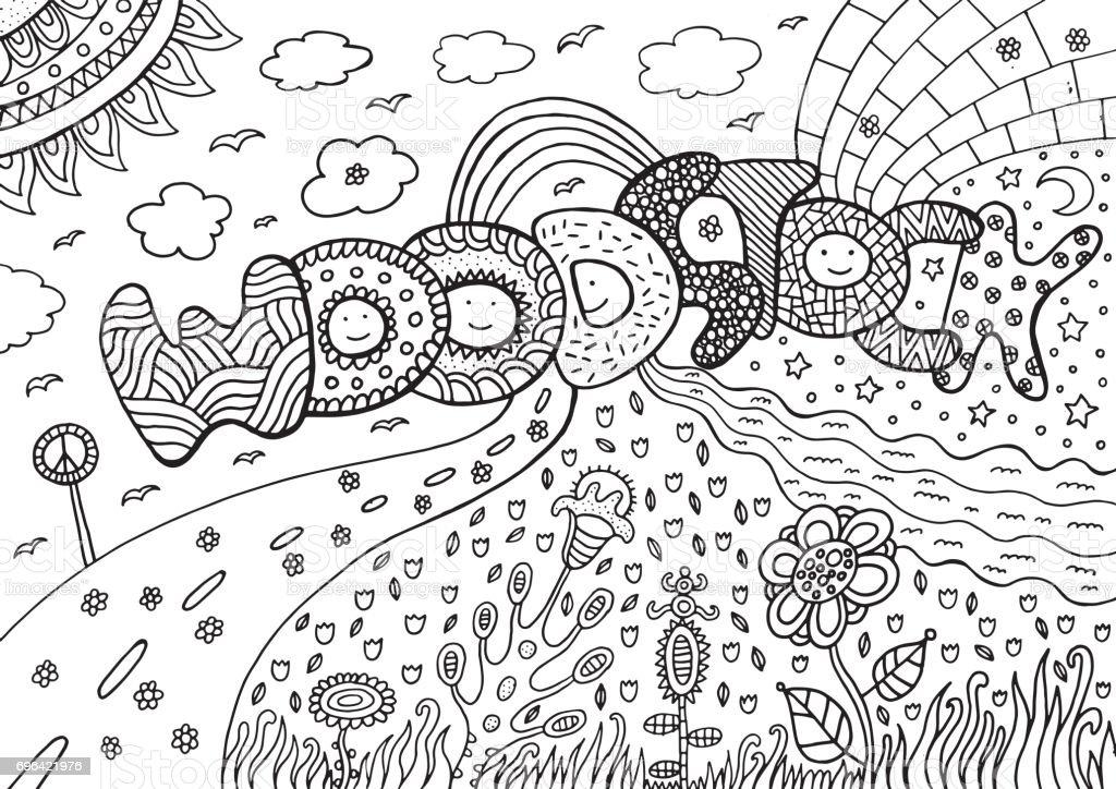 Malvorlagen Mit Woodstock Wort Handgezeichnete Schwarzweiß Doodle ...