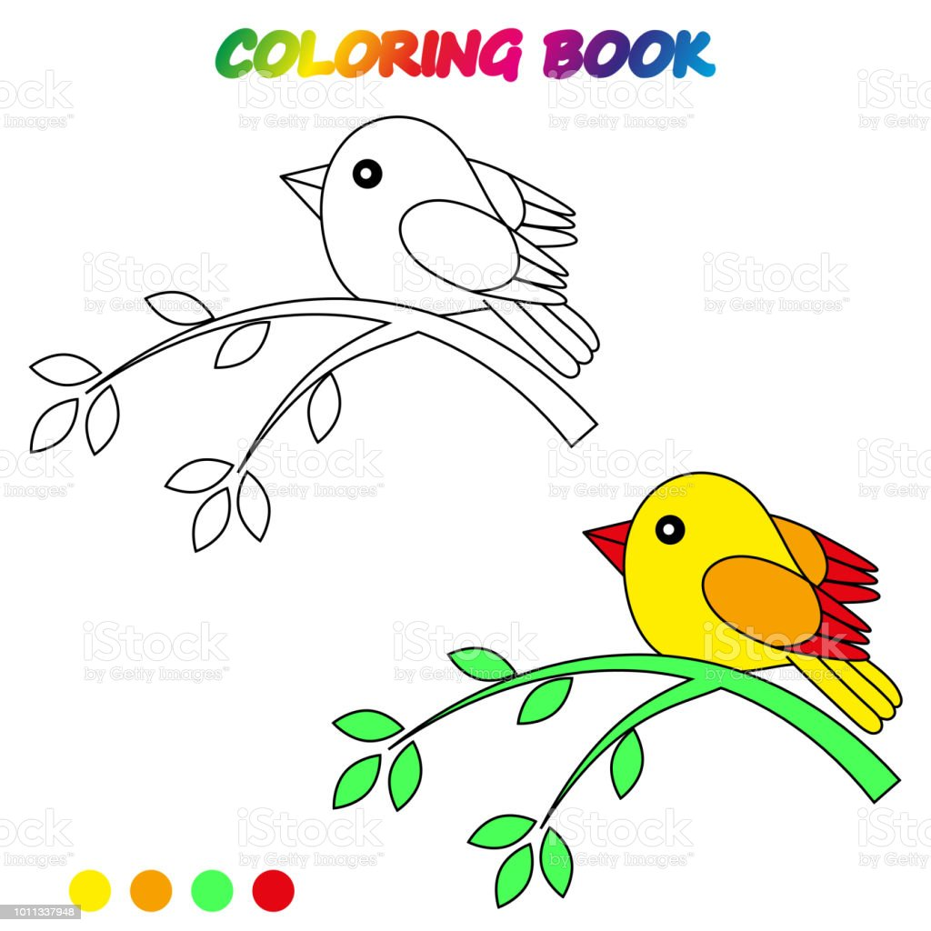 Bird Coloring Page Worksheet Game For Kids Coloring Book Vector