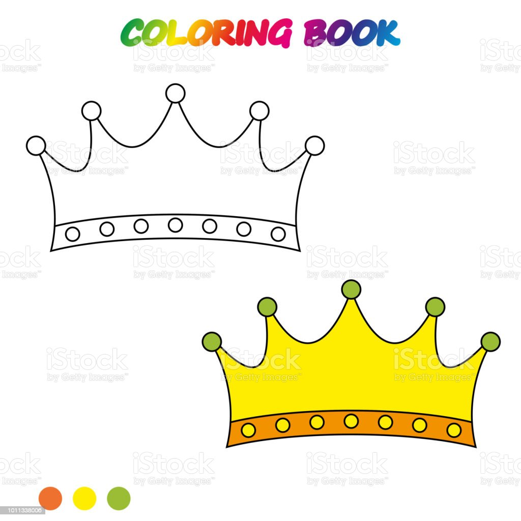 Crown Coloring Page Worksheet Game For Kids Book Vector
