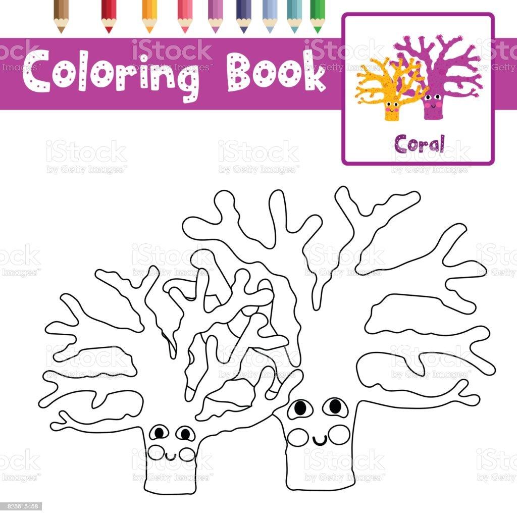 Boyama Sayfası Sarı Ve Mor Mercan Hayvan çizgi Film Karakteri
