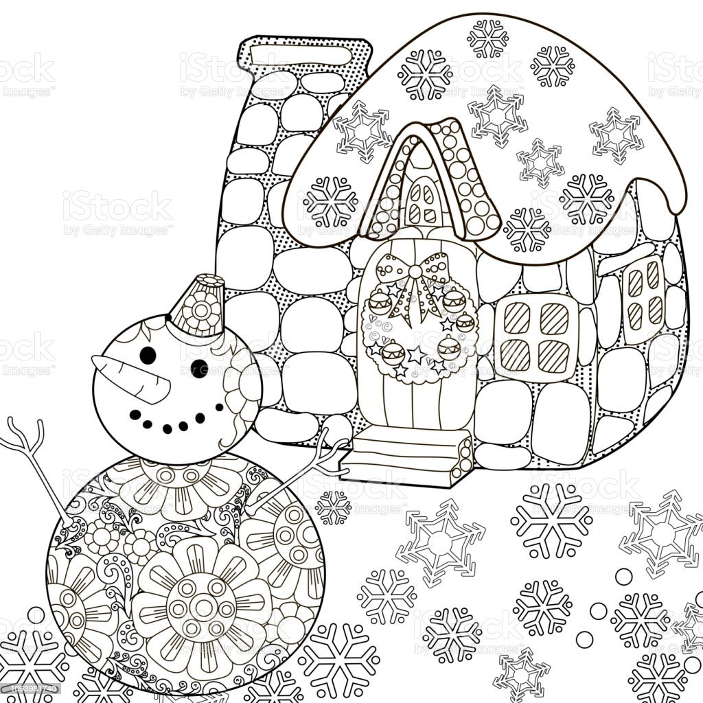 Coloring pages coloring book for children and adults colouring pictures with house antistress