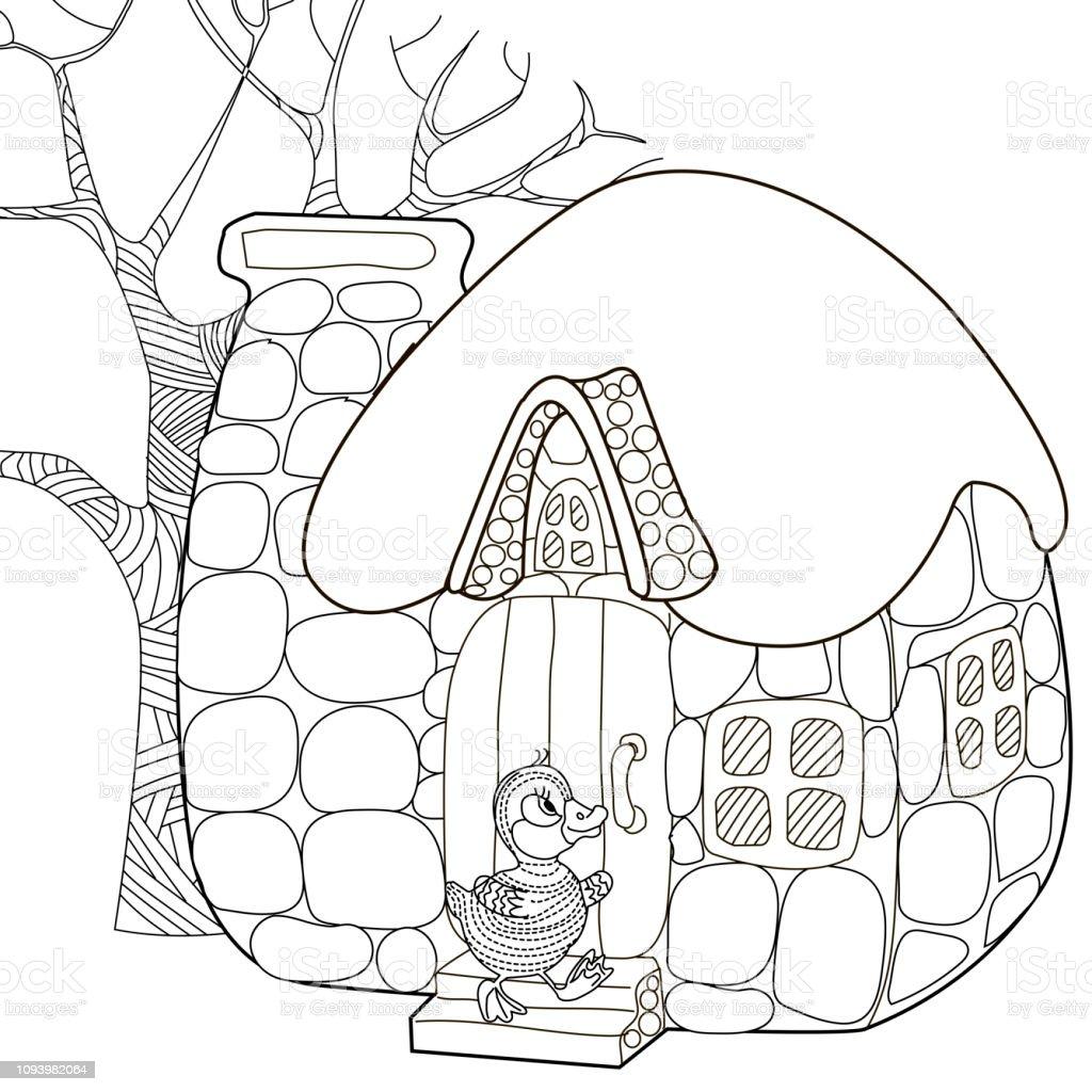 Pages A Colorier Cahier De Coloriage Pour Enfants Et Adultes Images A Colorier Avec La Maison Antistress Croquis A Main Levee Avec Doodle Et Zentangle Elements De Dessin Vecteurs Libres De Droits