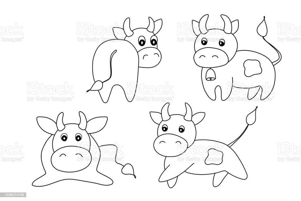 Coloring Pages Coloring Book For Kids Animal Set With Bulls New Year And Christmas Vector Illustration Template Adorable Character For Your Design Cute Cow Symbol 2021 Stock Illustration Download Image Now Istock
