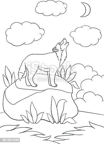 Howling Wolf Outline Vektor Ozgur Ai Svg Ve Eps