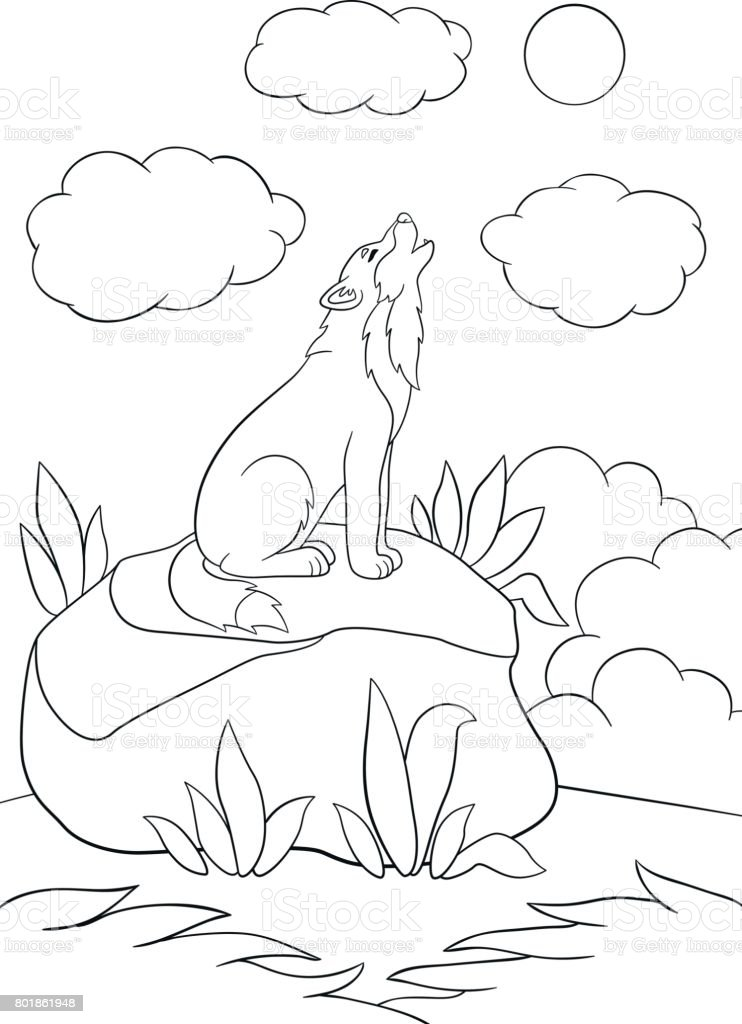 Ilustración de Dibujos Para Colorear Lindo Hermoso Lobo Aullando y ...