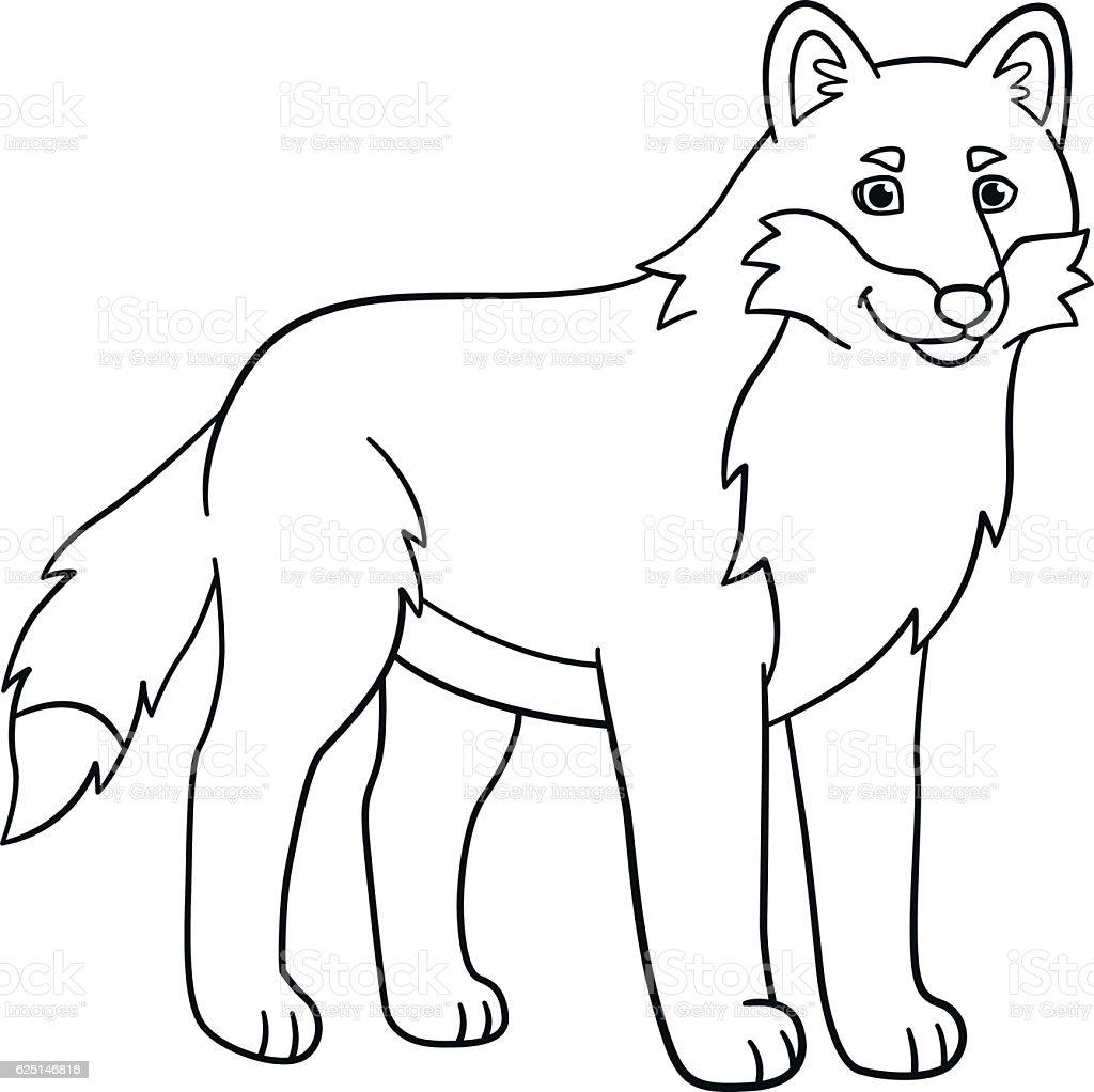Coloring Pages Cute Beautiful Wolf Smiles Vecteurs Libres De