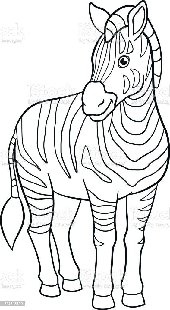 Malvorlagen Niedlich Schönen Zebra Lächelt Stock Vektor Art und mehr ...