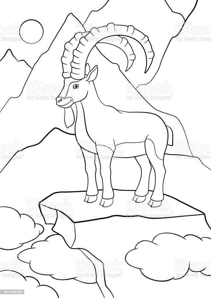 Boyama Sayfaları şirin Büyük Boynuzlu Dağ Keçisi Stok Vektör Sanatı