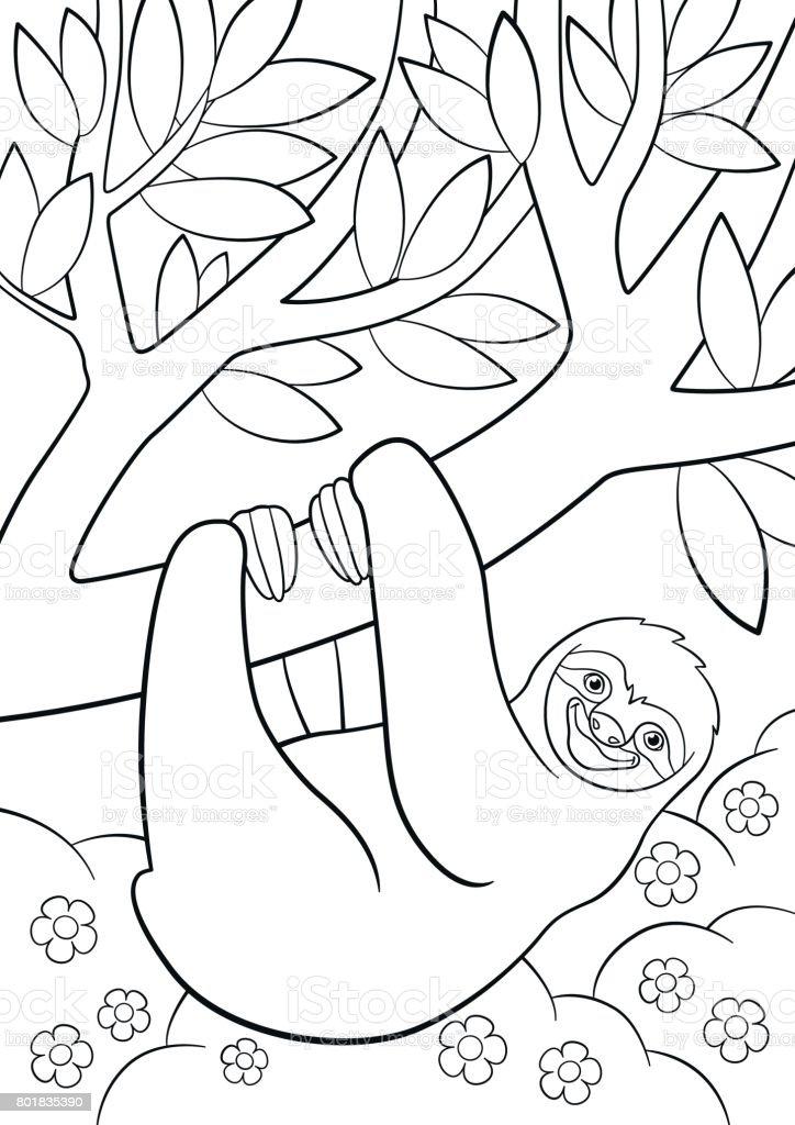 Boyama Sayfaları Ağaç üzerinde şirin Tembel Tembel Hayvan Stok