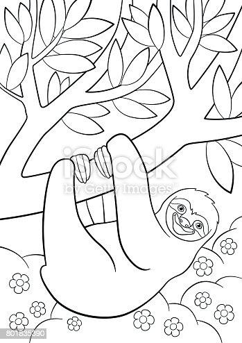 Ilustración de Dibujos Para Colorear Lindo Perezoso Perezoso En El ...