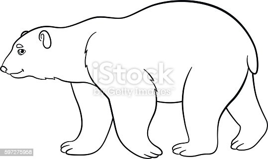 cute bear coloring pages - coloring pages cute polar bear smiles stock vector art