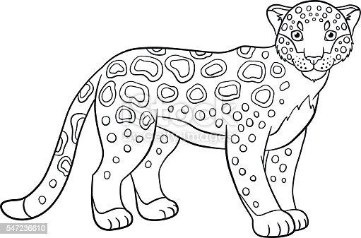 Ilustración de Coloring Pages Cute Spotted Jaguar Smiles y más banco ...