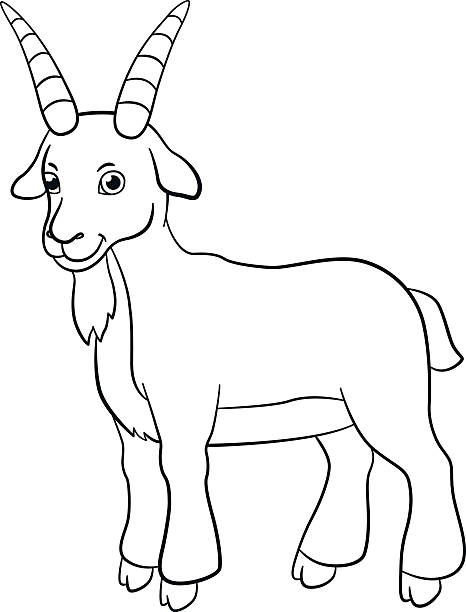 Coloring Pages Farm Animals Cute Billy Goat Smiles Vector Art Illustration