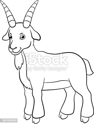 Coloring Pages Farm Animals Cute Billy Goat Smiles Stock