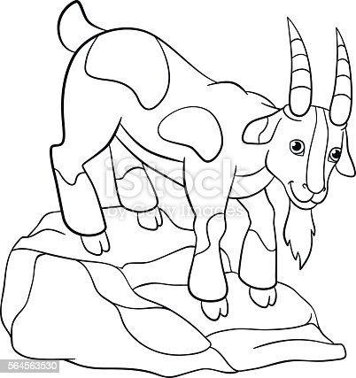 Coloring Pages Farm Animals Cute Billy Goat Stock Vector Art 564563530