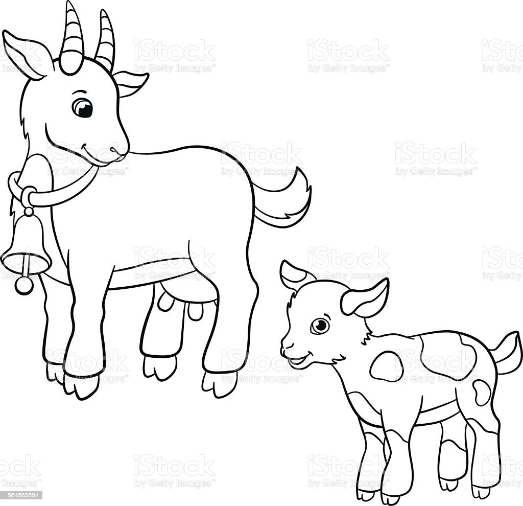 Coloring Pages Farm Animals Cute Mother Goat With Goatling Stock ...