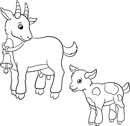 Coloring pages. Farm animals. Cute mother goat with goatling.