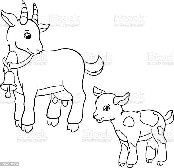 Coloring Pages Farm Animals Cute Mother Goat With Goatling ...