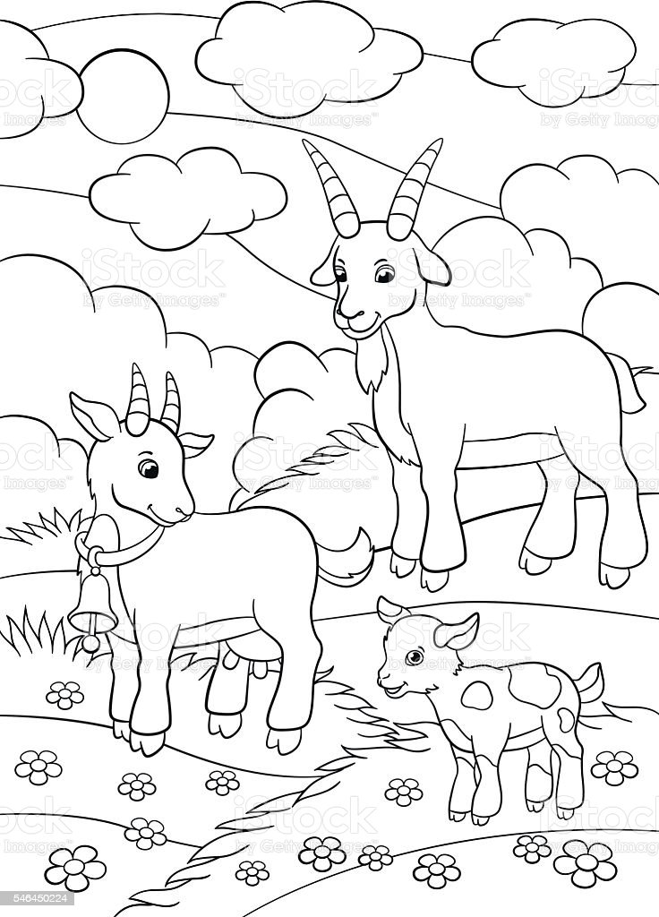 Coloring Pages Farm Animals Goat Family Stock Illustration ...