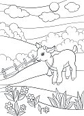 Coloring pages. Farm animals. Little cute goatling smiles.