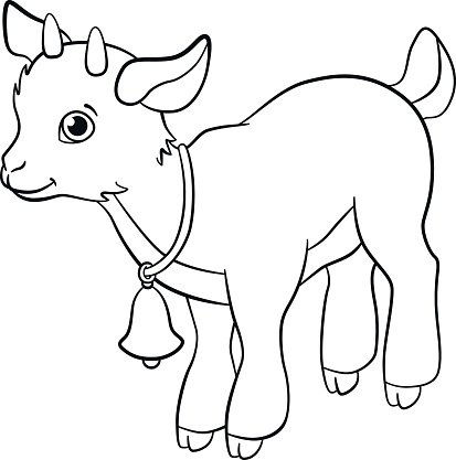 coloring pages farm animals little cute goatling stock