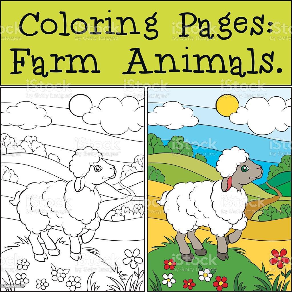 Colorier Pages Animaux De La Ferme Peu Joli Moutons Vecteurs