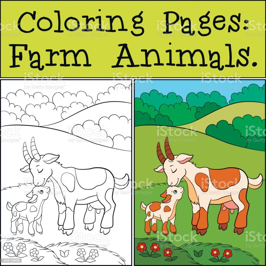 Coloring Pages Farm Animals Mother Goat With Her Baby Stock Vector ...