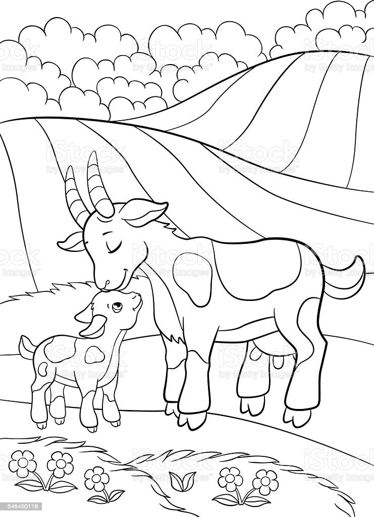 Farmer boy and animals collection. vector black and white coloring page.  Vector set of farm animals and farmer boy. black and | 1024x741