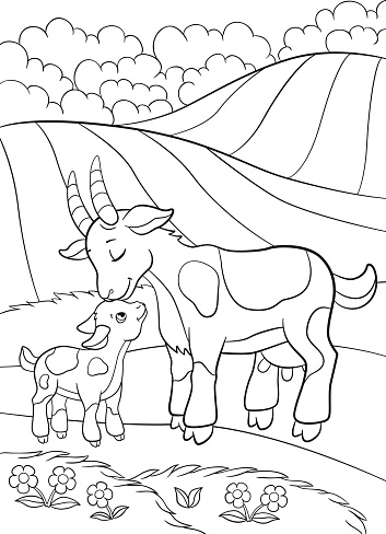 Coloring Pages Farm Animals Mother Goat With Her Little Baby Stock Illustration - Download Image Now
