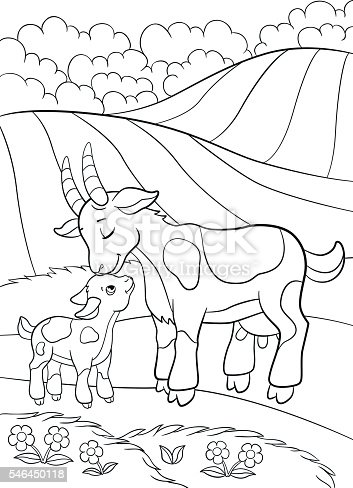 Coloring Pages Farm Animals Mother Goat With Her Little