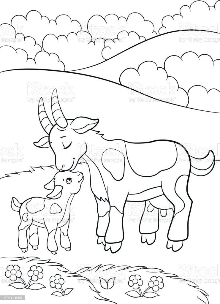 Ilustración de Dibujos Para Colorear Animales De Granja Mamá Cabra ...