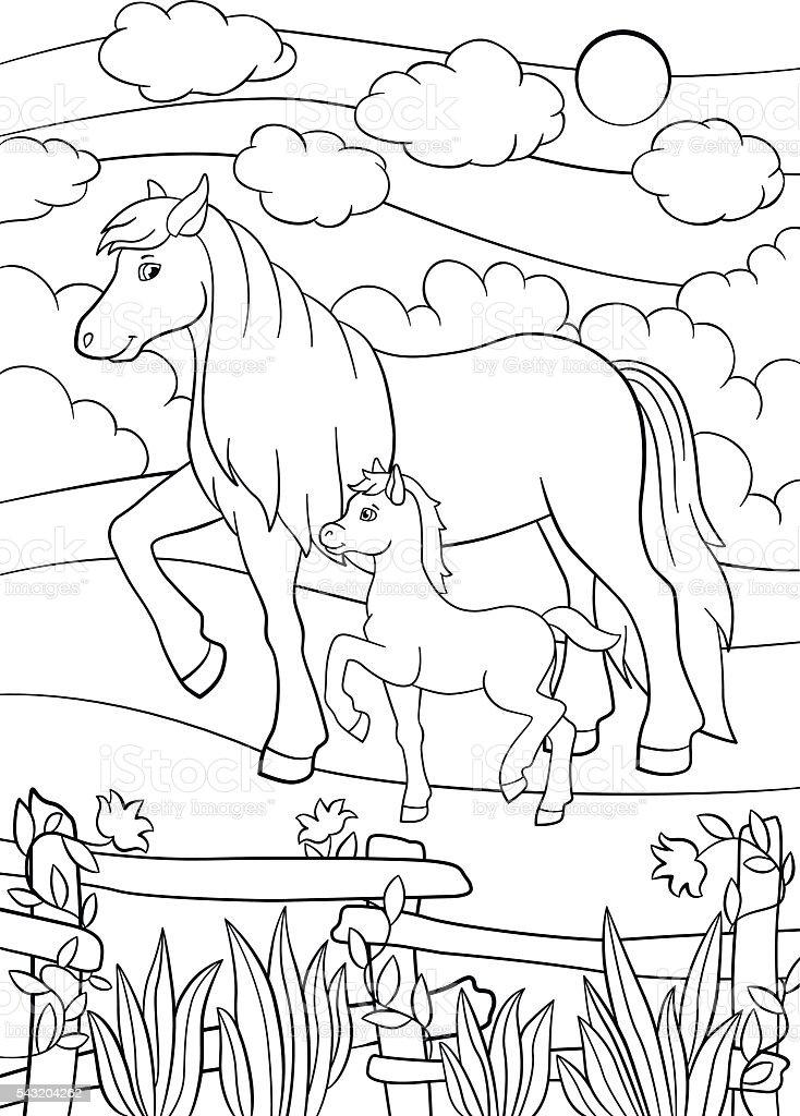 Vetores De Paginas De Colorir Animais De Fazenda Mae Com Potro De