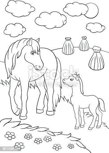 Kleurplaten Boerderijdieren.Kleurplaten Boerderijdieren Moeder Paard Met Veulen Stockvectorkunst