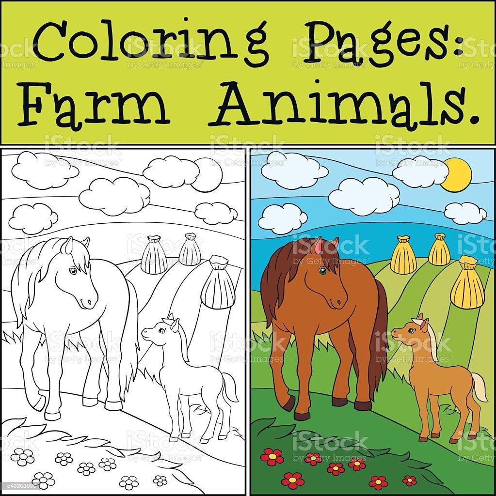 Colorear Páginas Animales De Granja Madre Con Su Caballo Potro ...