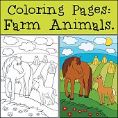 Coloring Pages: Farm Animals. Mother horse with her foal.