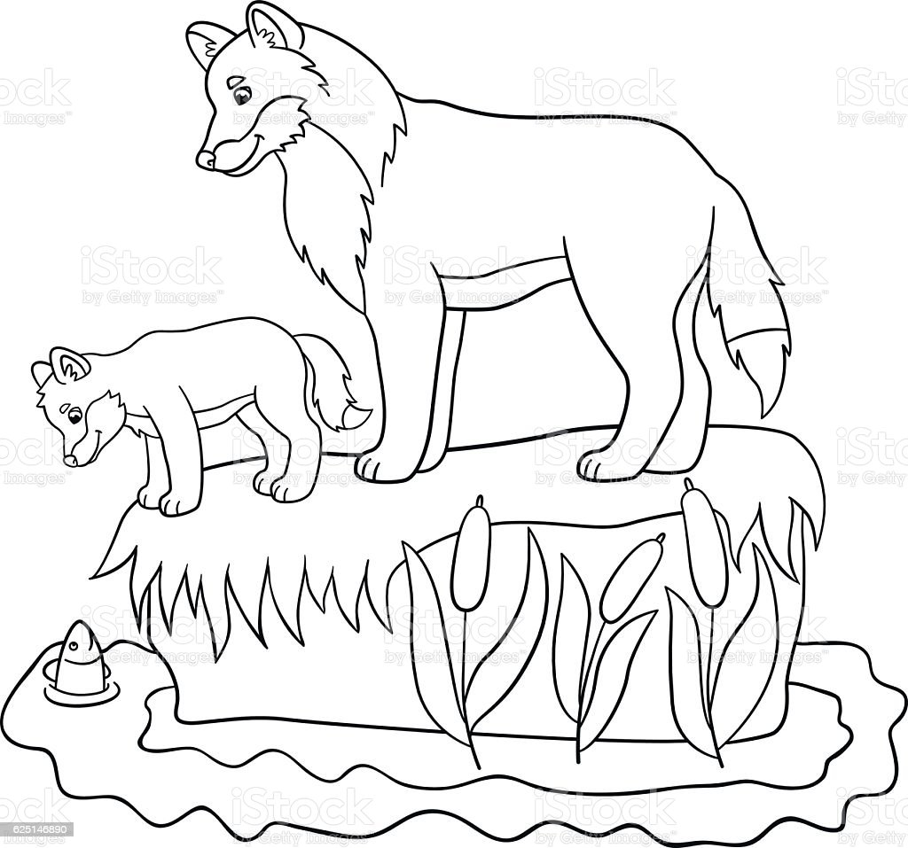 Coloring Pages Father Wolf With His Cute Baby Stock Vector Art ...
