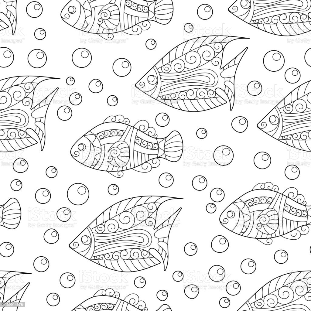 Coloring Pages For Adult Book Antistress Seamless Abstract Handdraw ...