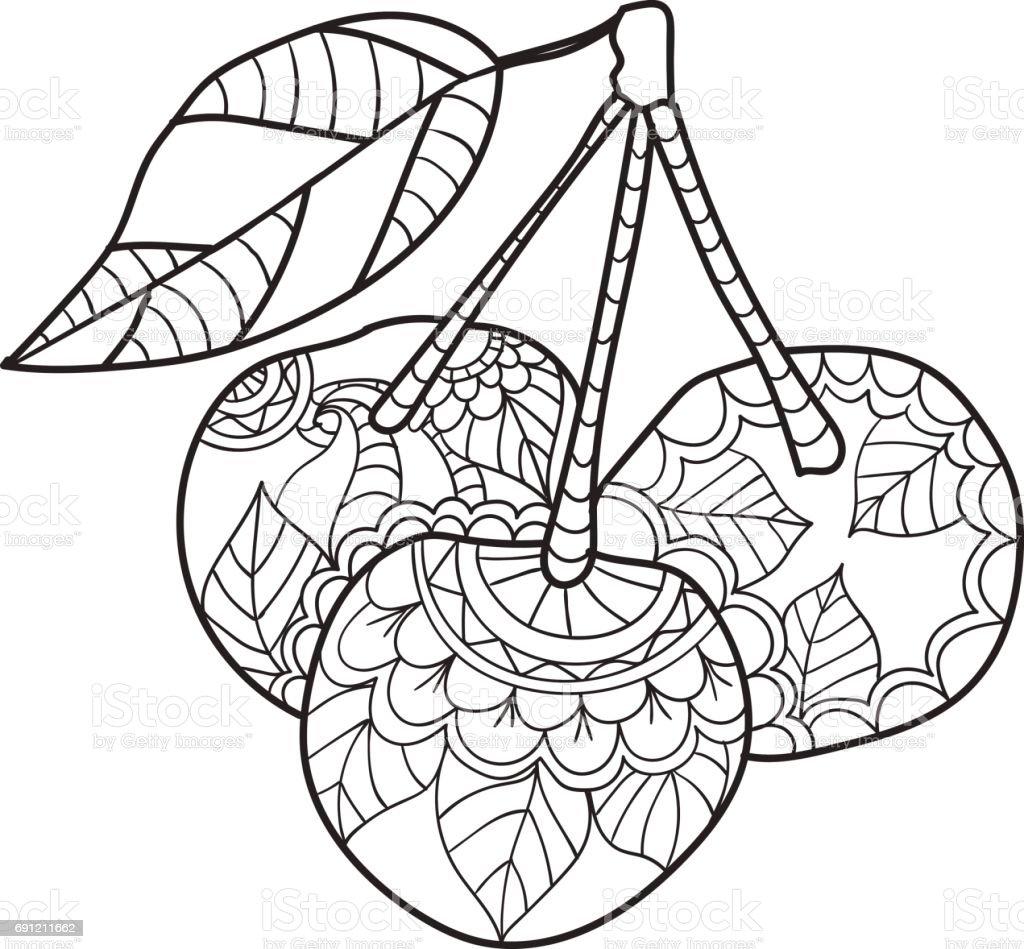 Ilustración De Páginas Para Colorear Para Adultos Bosquejo De Cereza