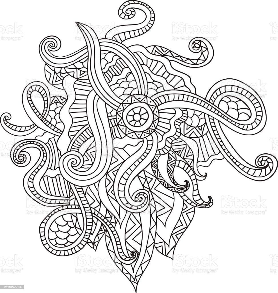 Ilustración de Colorear Páginas Para Adultos Decorativo Dibujado A ...
