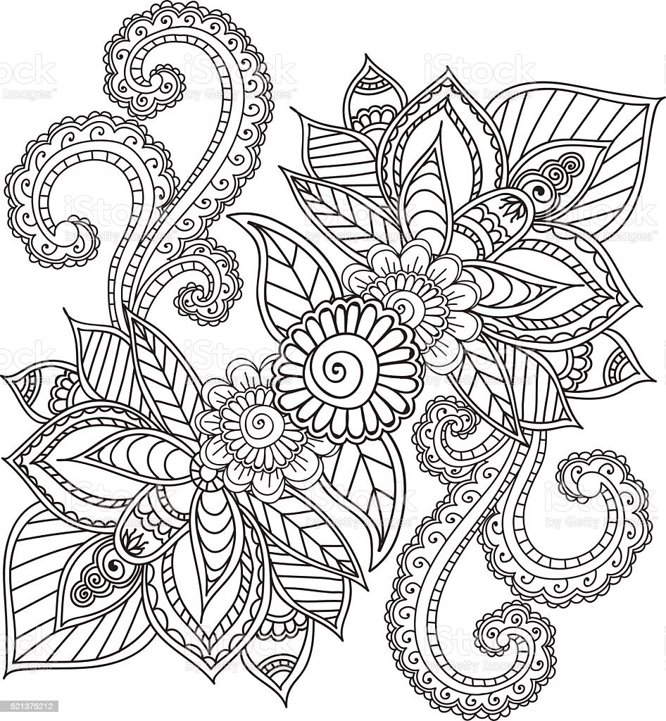 Coloring Pages For Adults Henna Mehndi Doodles Abstract Floral ...