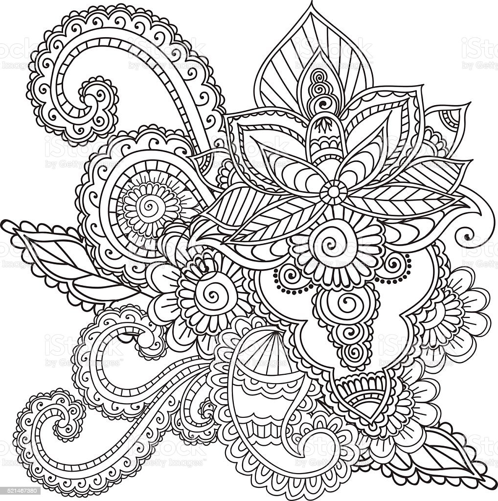 Coloring Pages For Adults Henna Mehndi Doodles Abstract Floral Elements Royalty Free