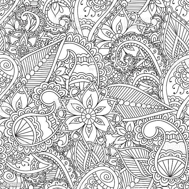 coloring pages for adults seamles henna mehndi doodles abstract vector id
