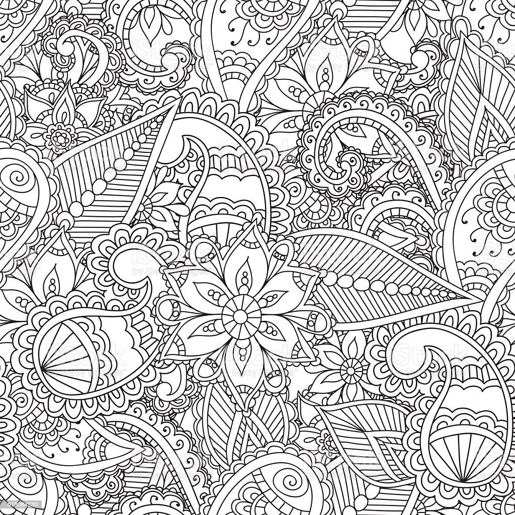 Coloring pages for adults. Seamles Henna Mehndi Doodles Abstract Floral vector art illustration
