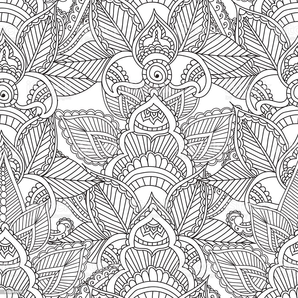 Coloring Pages For Adults Seamles Henna Mehndi Doodles Abstract Floral Stock Illustration Download Image Now Istock