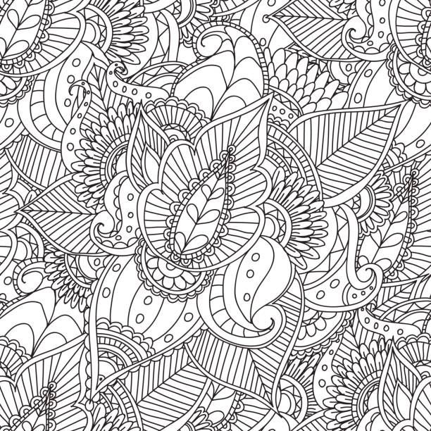 Coloriage pour adultes. Dessiné à la main décorative Doodle nature ornementale CURL vecteur esquisse seamless pattern. - Illustration vectorielle