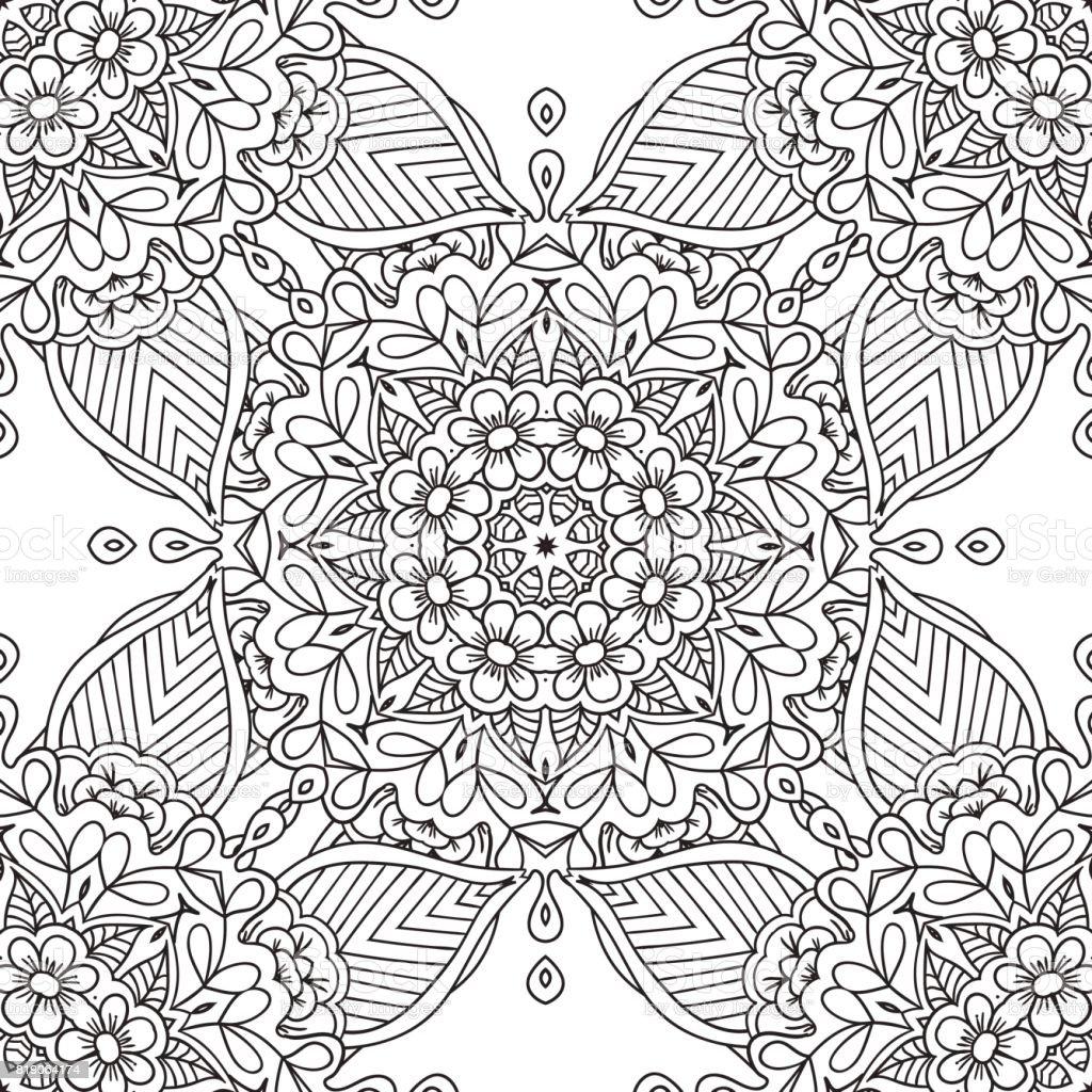 Ilustración de Páginas Para Colorear Para Adultos Mano Decorativa ...