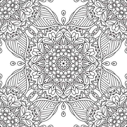 Målarbilder För Vuxna Dekorativa Hand Dras Doodle Natur Prydnads Curl Vektor Sketchy Sömlösa Mönster-vektorgrafik och fler bilder på 20-29 år