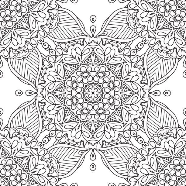 bildbanksillustrationer, clip art samt tecknat material och ikoner med målarbilder för vuxna. dekorativa hand dras doodle natur prydnads curl vektor sketchy sömlösa mönster - 50 59 år